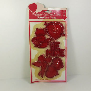 Valentine's Day Cookie Cutters, Vintage Amscan Valentine Cookie Cutters, Clear Red Plastic Shaped Cookie Cutters, Made in Hong Kong
