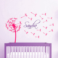Dandelion Wall Decal Baby Girl Personalized Name Vinyl Stickers Flower Art Mural Home Boho Bedroom Interior Design Kids Nursery Decor KY106