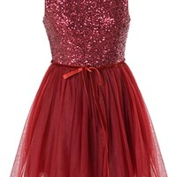Cinnamon Sticks Dress | Burgundy Red Sequin Tutu Prom Dresses | RicketyRack.com