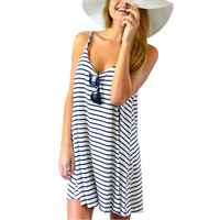 Newest Women Summer Dress Fashion Casual Striped Sexy Spaghetti Strap Sleeveless Short Beach Dress Plus Size S-3XL vestidos