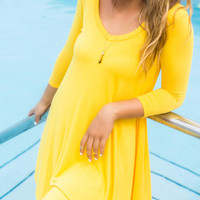 Follow Your Heart Yellow V-Neck Long Sleeve Dress