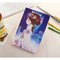 "Cute Cartoon Girls PU Leather Ultra Slim Case for Ipad air 2 / air 1 ( Ipad 5 6 ) / Pro 9.7"" For Ipad Mini 1 2 3 4 Stand Cover"
