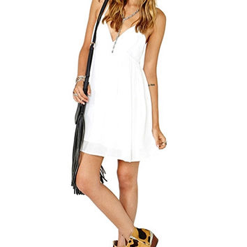 White Strappy Chiffon Skater Dress