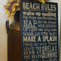 Beach Rules Subway/Typography Wooden Primitive Sign