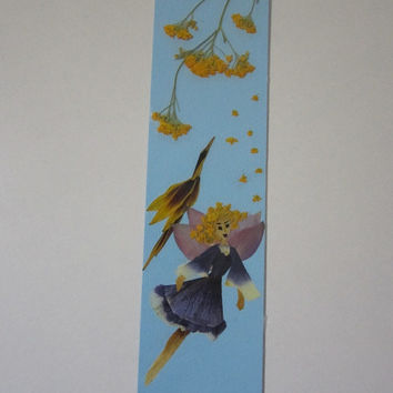 """Handmade unique bookmark """"I'm flying in their own way"""" - Decorated with dried pressed flowers and herbs - Original art collage."""