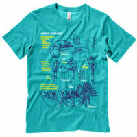 Lemur Ecology Science Illustration T-Shirt