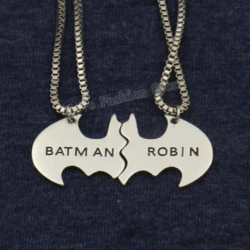 2016 Trendy Batman and Robin Lovers' Necklace the Best Friends BBF Gift Collier Maxi Necklace Steampunk Jewelry