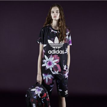 """Adidas"" Fashion Casual Multicolor Clover Letter Print Stitching Gauze Short Sleeve Set Two-Piece Sportswear"