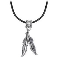Body Candy Native American Feather Pendant Leather Choker Necklace, 16""