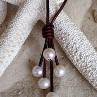 Freshwater pearl and leather necklace. Free shipping to the US