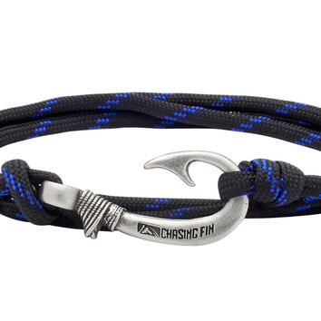 Blue Thin Line Fish Hook Bracelet