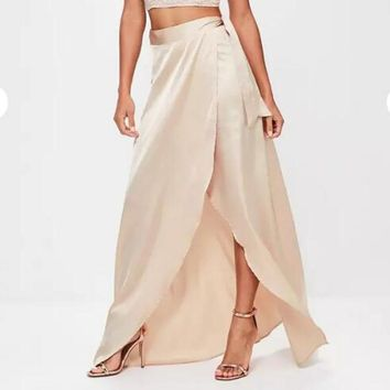 Bohemian Sexy Wraps Long Skirt For Women With High Side Split  Only One Later Satin Silk Ribbon Sash Female Mxi Skirt 2017