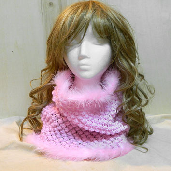 Sweet pink cowl neck warmer hand knit winter gift for a princess in you