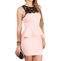 Peach Lace Peplum Dress