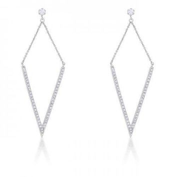 Michelle 1.2ct Cz Rhodium Delicate Pointed Drop Earrings (pack of 1 ea)