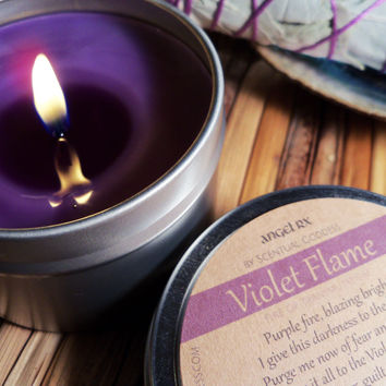 Violet Flame Candle - Let Go Of, Release & Clear Old Karmic Debt from Past Lives - St Germain