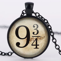 Harry Potter Platform 9 3/4 - pendant glass pendant charms necklace choker vintage statement necklace jewelry