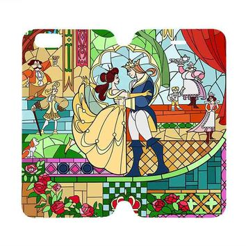 BEAUTY AND THE BEAST ART Disney Wallet Case for iPhone 4/4S 5/5S/SE 5C 6/6S Plus Samsung Galaxy S4 S5 S6 Edge Note 3 4 5