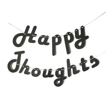 Happy Thoughts - Black Cardstock Banner w/ eyelets