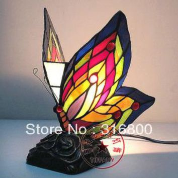 Simulation Art Butterfly Lighting European Tiffany stained glass light