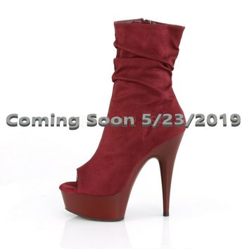 "Delight 1031 Burgundy Wine Red Slouchy Ankle Boot 6"" High Heel Shoe Sizes 5-12"