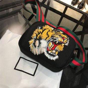 GUCCI Embroidered Tiger Canvas shoulder bag