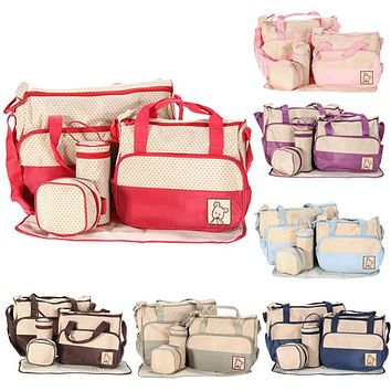 7 Colors 5PCS Set Tote Baby Shoulder Diaper Bags Durable Nappy Bag Mother Mummy Baby Bag for mom