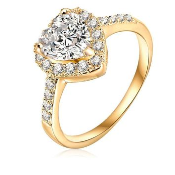 LZESHINE Love Style Sincere Heart Ring  Gold /Silver Plated Micro Pave Clear Cubic Zirconia Promise Ring For Women CRI0004