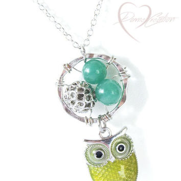Owl Charm Necklace Pendant - Green Aventurine Wire Wrapped Necklace - Unique Gifts for Women - Stocking Stuffers for Women - Teen Gift