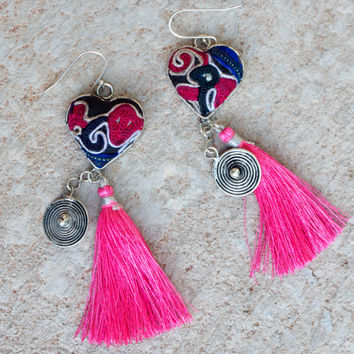 Large tribal earrings Statement boho earrings Pink Hippie jewellery Big heart Hot pink tassel earrings Gypsy style Ethnic minority jewelry