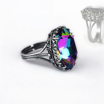 Multi Color Ring Swarovski Crystal Alternative Engagement Ring Swarovski Jewelry ELEKTRA Filigree Ring Oxidised Silver Ring Adjustable Ring