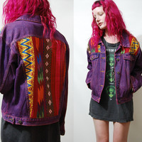 90s Vintage DENIM JACKET Grunge Tribal Woven Embroidered Patch Back Purple / Maroon Oversized 1990s Bohemian vtg L