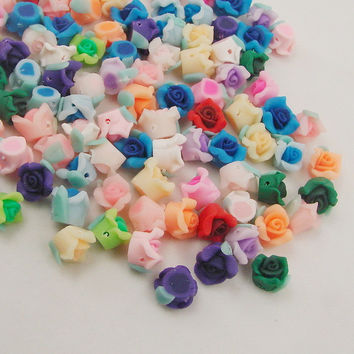 10PCS lot 8mm Kawaii Polymer Clay Fimo Rose Flower Chunky Flatback Beads Diy Hair Headband Decorate Jewelry Findings
