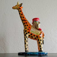 Vintage Mexican | ceramic | folk art | giraffe | candle holder | heron martinez | 1970s | boho decor| pottery | taper candle