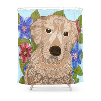 Society6 Golden Retriever Shower Curtains