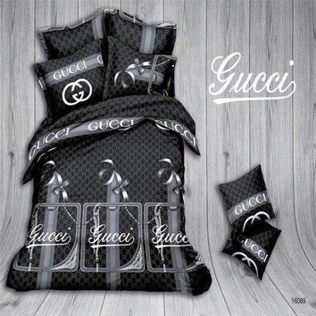 Black Gucci 4pc Bedding Set-QB