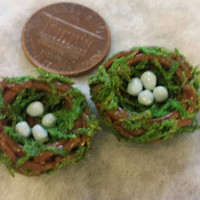 Miniature bird nests. Set of 2 each with tiny eggs. Made from polymer clay.