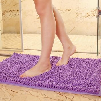 Custom Super Absorbent Soft Bathroom Mats Kitchen Bath Shaggy Non-slip Mat Home Decoration Chenille Carpet Doormat Rug