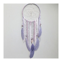 Dreamcatcher - Mauve and Gray Colored with Crystal Center // Boho Dream Catcher Wall Hanging