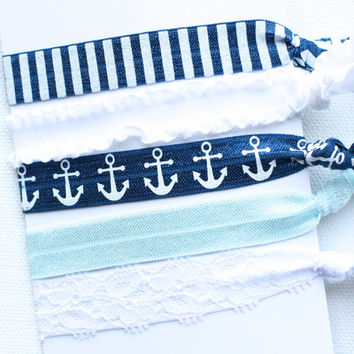 Nautical Hair Ties, Toddler Hair Ties, Hair Tie Favor, FOE Hair Ties, Ribbon Hair Tie, Elastic Hair Bands, Knotted Hair Ties, Yoga Hair Ties