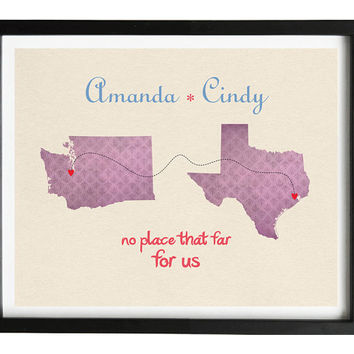 Long distance friendship relationship quote travel map 8x10 in personalized