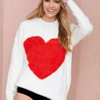 Nasty Gal Heart On Fuzzy Sweater