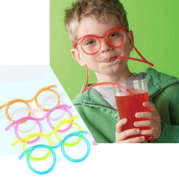 1Pcs Creative Funny Straw Glasses DIY Soft Plastic Drinking Tube Flexible Kids Party Bar Accessories Random Color