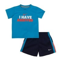 Nike ''I Have Arrived'' Tee & Shorts Set - Toddler Boy, Size: