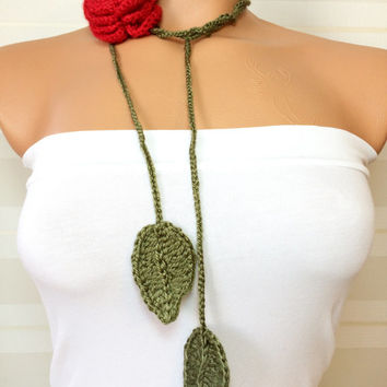 Hand Crochet Lariat Scarf Green Ribbon and Red Rose Flower Lariat Scarf Long Necklace Long Scarf