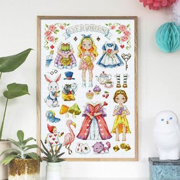 Gold Collection Counted Cross Stitch Kit Alice in Wonderland Fairy Tale Fairytale Fairyland SO