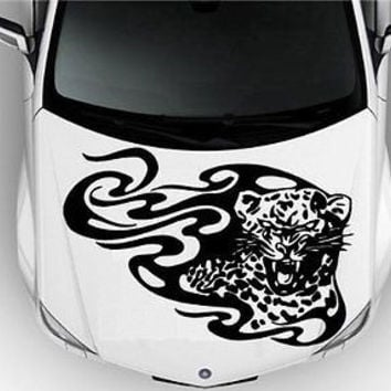 Hood Auto Car Vinyl Decal Stickers Animal Tribal Predators Leopard 7489