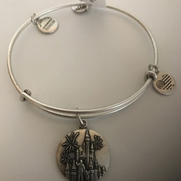 Disney Alex and Ani Mickey Walt Cinderella Castle Silver Finish Bracelet New w Tag