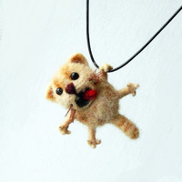Felted Cat Necklace, Sculpture Needle Felted, Felted Animal, Felt Cat Pendant, Handmade Jewelry, Merino Wool, Gift Ideas