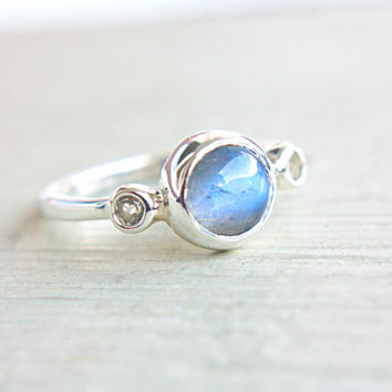 Moonstone and Topaz Ring Sterling Silver Moonstone Engagement Ring White Topaz Promise Ring Silversmithed Metalsmithed